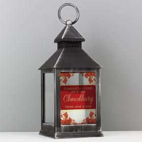 Personalised Paisley Wedding Rustic Black Lantern