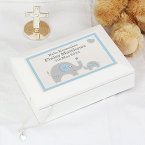 Personalised Blue Baby Elephant White Wooden Keepsake Box