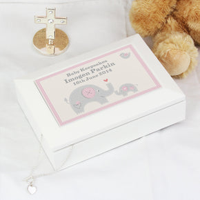 Personalised Pink Baby Elephant White Wooden Keepsake Box