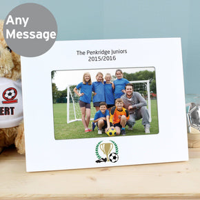 Personalised Football 6x4 White Wooden Photo Frame