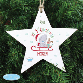 Personalised Tiny Tatty Teddy My 1st Christmas Sleigh Wooden Star Decoration