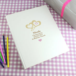 Personalised Love Hearts Pink Traditional Album