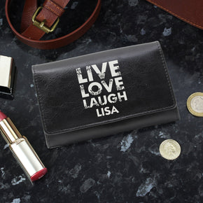 Personalised Live Laugh Love Black Leather Purse