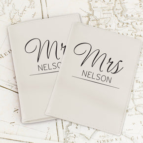 Personalised Classic Mr & Mrs Cream Passport Holders