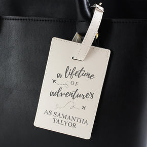Personalised 'Lifetime of Adventures' Cream Luggage Tag