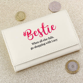 Personalised #Bestie Cream Purse