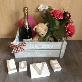 Handmade Personalised Valentines Wooden Crate