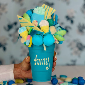 Personalised Bubblegum Blue Smash Cup