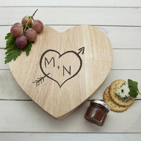 Engraved Carved Heart Cheese Board