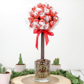 Personalised Lindor Sweet Tree - 25cm with red wrappers