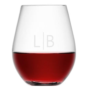 Personalised LSA Monogrammed Stemless Red Wine Glass