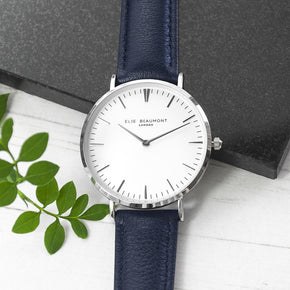 Personalised Modern - Vintage Leather Watch In Navy & Silver
