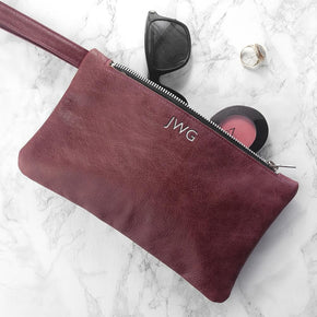 Personalised Monogrammed Burgundy Leather Clutch Bag