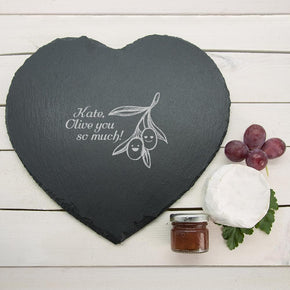 "Personalised Romantic Pun Olive You So Much ""Heart Slate Cheese Board"""