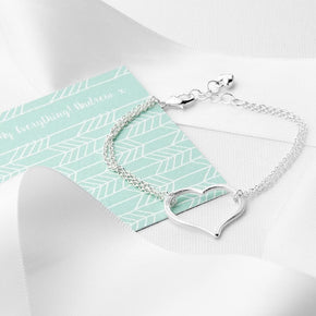 Personalised Silver Plated Open Heart Friendship Bracelet