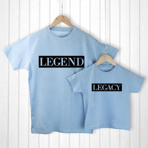 Personalised Daddy and Me Legendary Blue T-Shirts