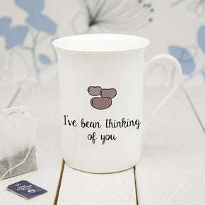 Personalised 'I've Bean Thinking Of You' Bone China Mug