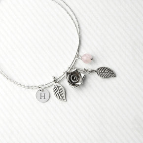 Personalised English Rose Bracelet With Rose Quartz Stones