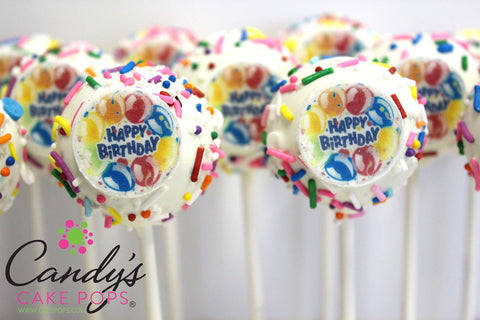 Happy Birthday Edible Decal Cake Pops Candys Cake Pops - Cake pop birthday cake