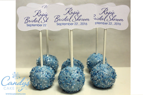 Bridal Shower / Wedding Cake Pops Favors with Customized Text Tags - Self Standing