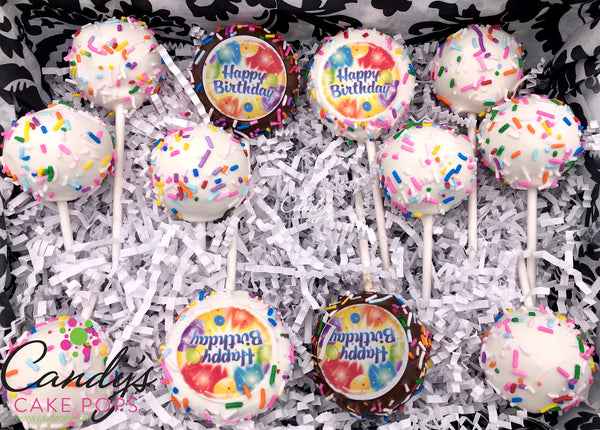 Happy Birthday Chocolate Covered Oreos + Cake Pops Gift Box