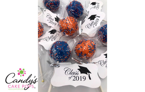 Graduation Custom School Colors with Personalized Tag Cake Pops