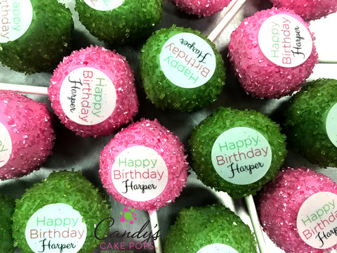 Custom Name + Color Happy Birthday Decal Cake Pops