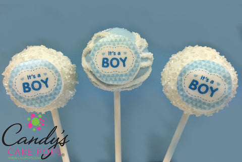 It's A Boy Edible Decal Cake Pops Baby Shower