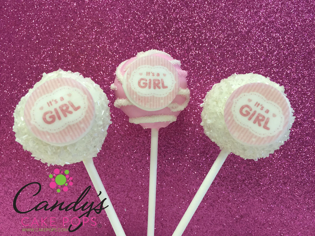 Its A Girl Edible Decal Cake Pops Baby Shower Candys Cake Pops