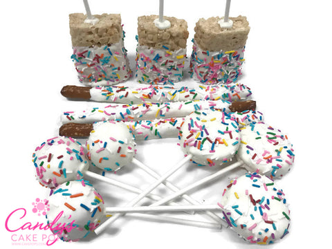 Festive Celebration Confetti Sprinkle Party Variety Package. Chocolate Dipped Cake Pops, Oreos, Rice Krispies, & Pretzel Rods!