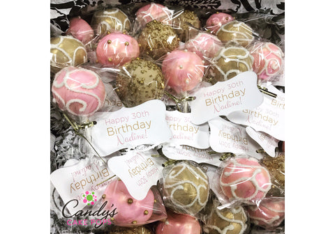 Happy Birthday Custom Color & Favor Tag Cake Pops
