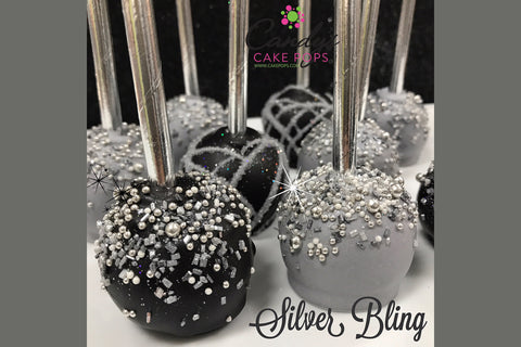 Luxury Silver Cake Pop Favors (Starts at 1.5 Dozen/Self- Standing)
