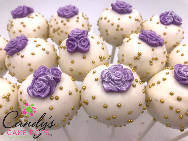 Luxury Rose Flower Cake Pops (Custom Color - Choose Rose, Dipping, & Sprinkle Colors)
