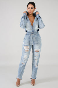 Denim Distressed Jumpsuit