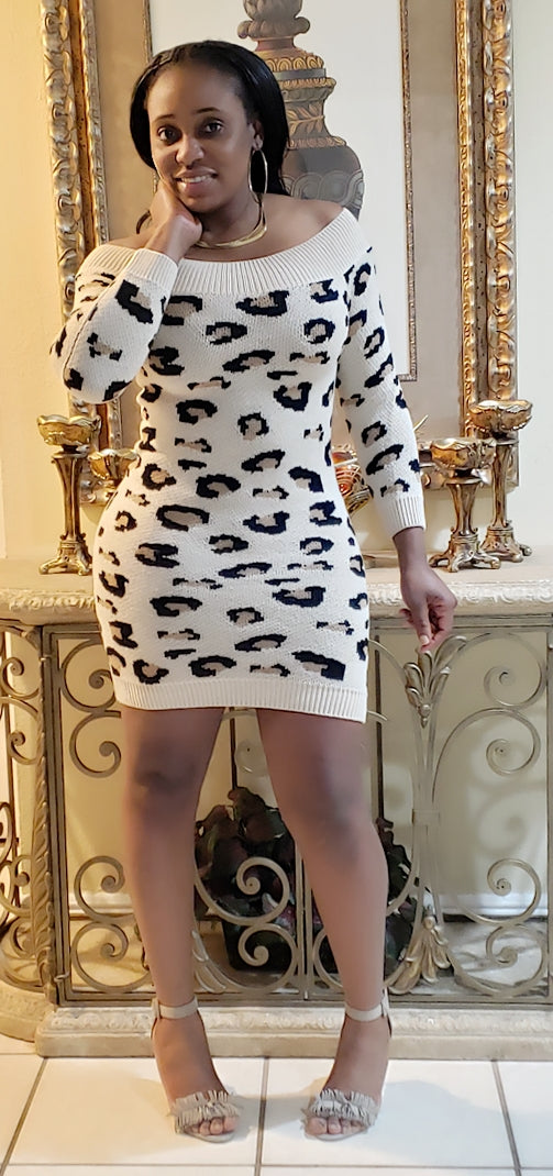 Animal Print Sweater Dress