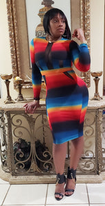 Rainbow rib knit dress
