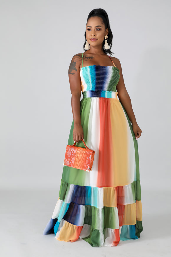 Accordion Palette Maxi Dress