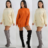 Eyelet Lace-up Sweater Tunic