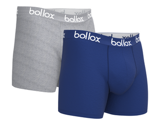 Men's cotton boxer shorts  - Blue & Grey (2 pack)