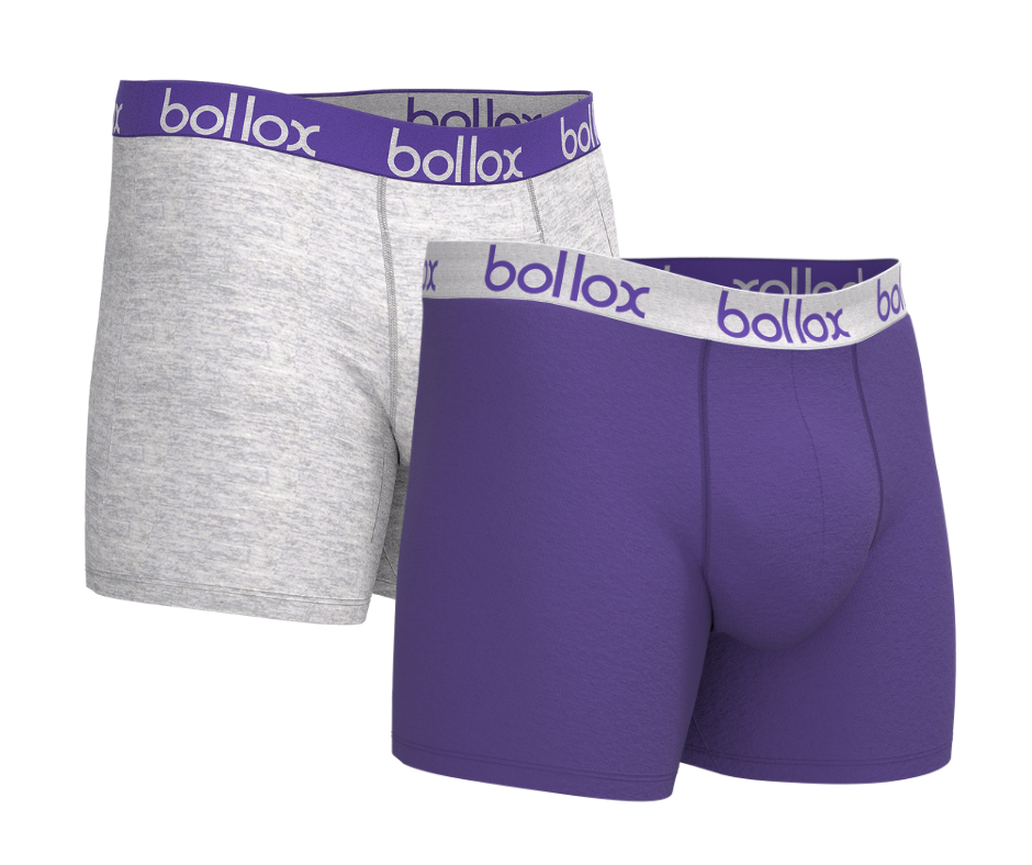 Men's cotton boxer shorts  - Purple & Grey (2 pack)