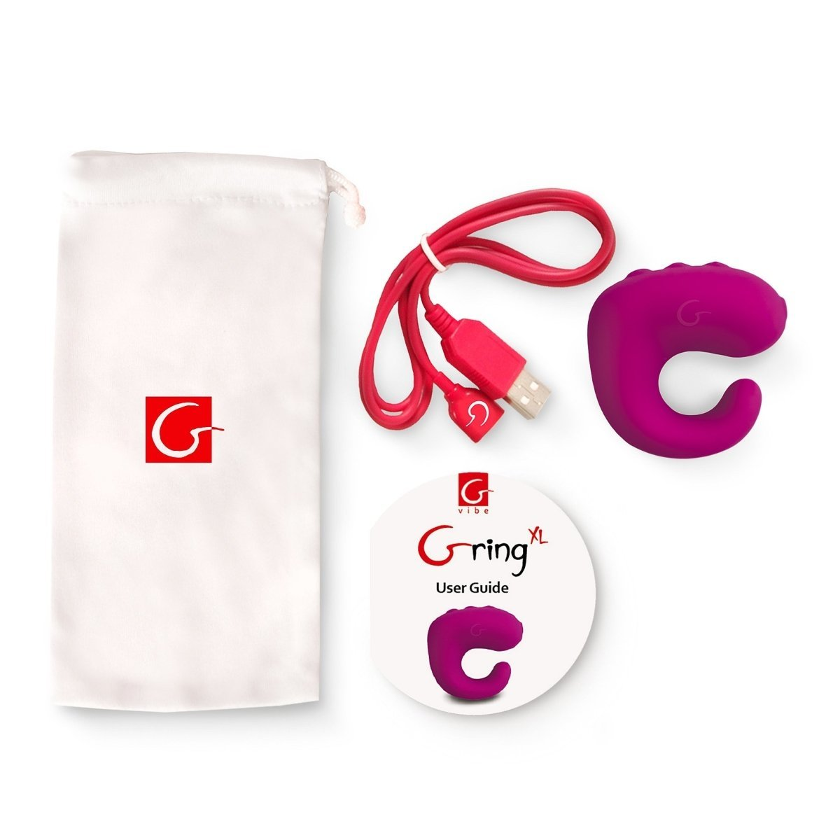 Gring XL - Sweet Raspberry - Clitoral Vibrator With Finger Ring - Buy Sex Toys Gvibe.com