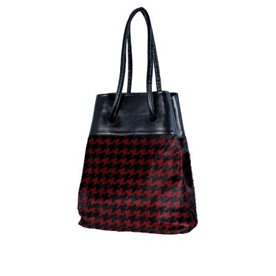 Burgundy Houndstooth (Hair-on-hide)