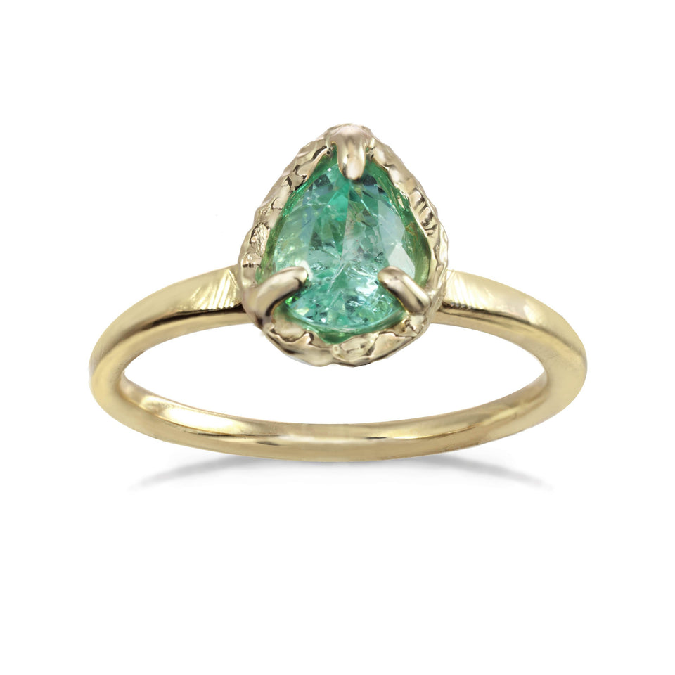Pale Emerald Teardrop Ring