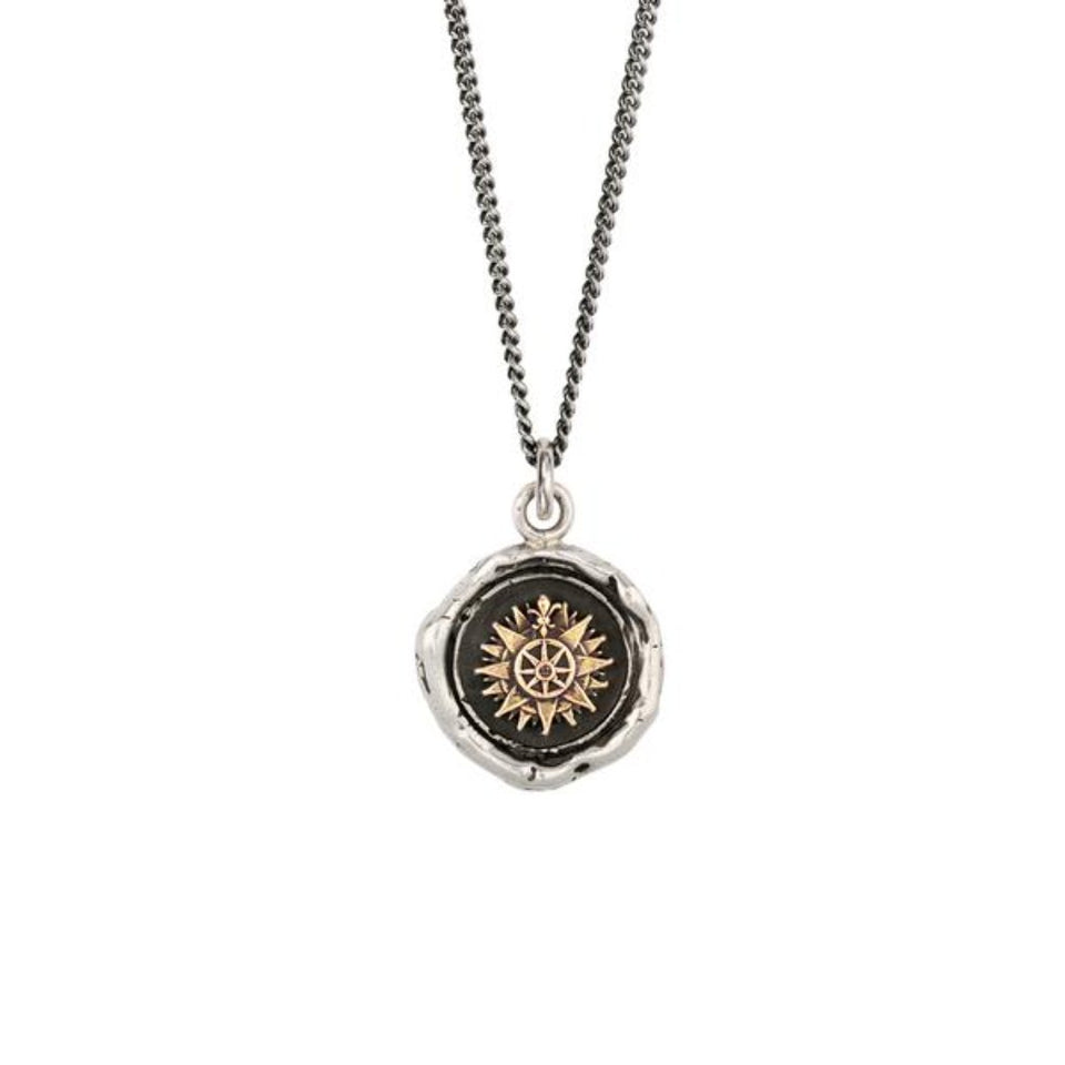 Direction 14K Gold On Silver Talisman