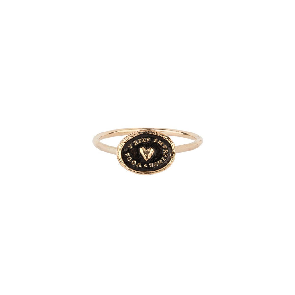 Heart Print 14K Gold Talisman Ring