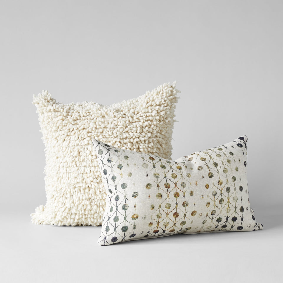 Handmade Wool Shag Pillow in Ivory, 18x18