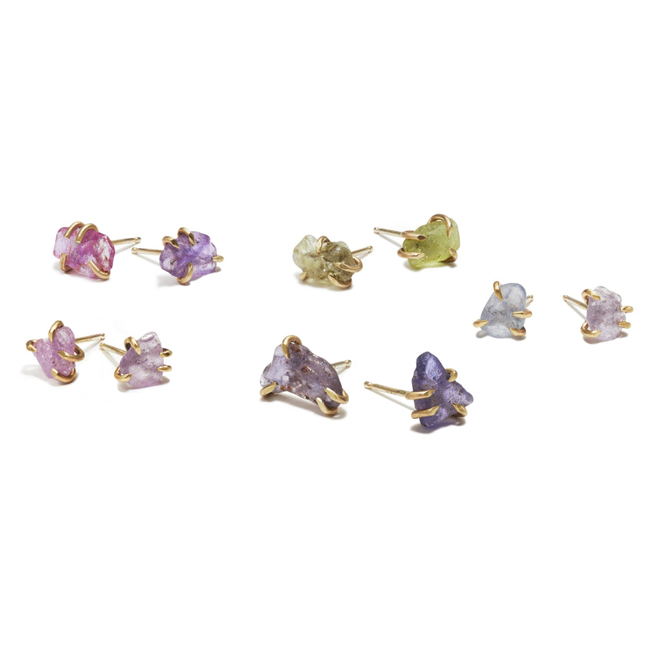 Rough Sapphire Pronged Studs
