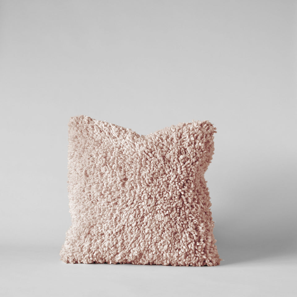 Handmade Wool Shag Pillow in Blush, 18x18