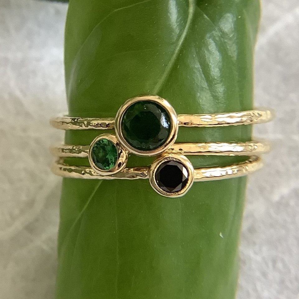 One of a kind Tsavorite and Black Diamond Rings