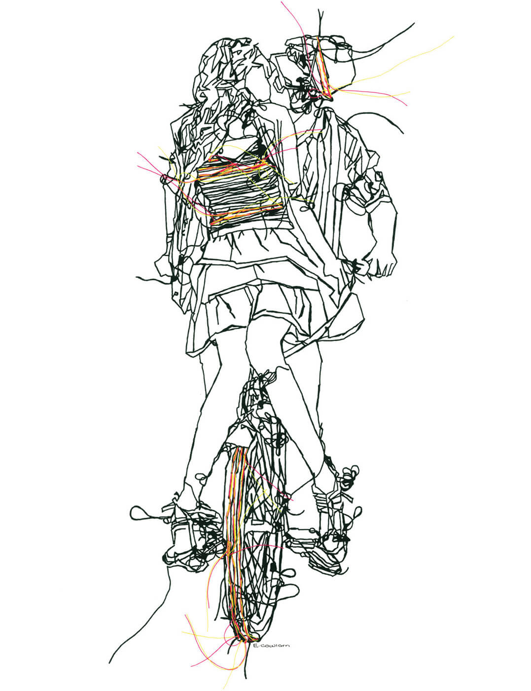 Emma Cowlam NY Bike Lovers (neon) for Modern ArtBuyer